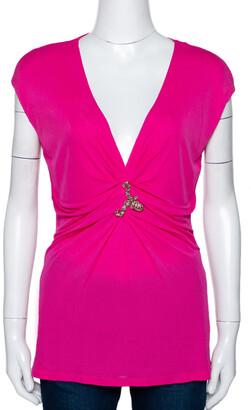 Roberto Cavalli Pink Knit Serpent Brooch Detail Gathered Top M