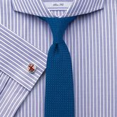 Charles Tyrwhitt Slim Fit Extreme Spread Collar End-On-End Stripe Lilac Cotton Dress Casual Shirt French Cuff Size 17/34
