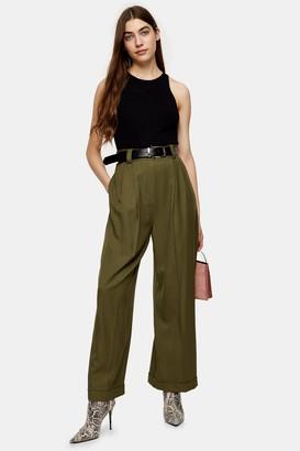 Topshop Womens Khaki Elasticated Back Wide Leg Trousers - Khaki