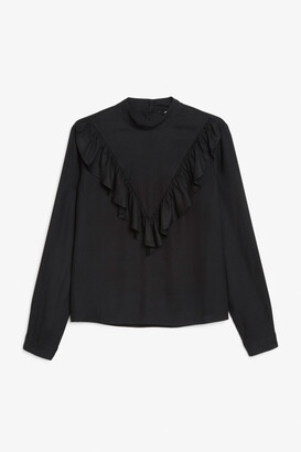 Monki High-collar ruffle blouse