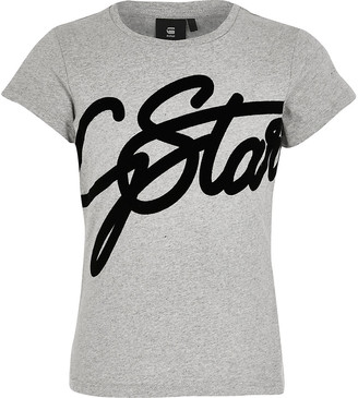 River Island Girls G-Star Raw grey velvet printed T-shirt
