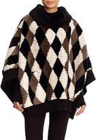 Gorski Diamond-Pattern Sheared Beaver Poncho with Wool-Cashmere Knit