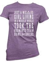 Brain Juice Tees Just A Wizard Girl In A Muggle World Womens Junior Fit Shirt