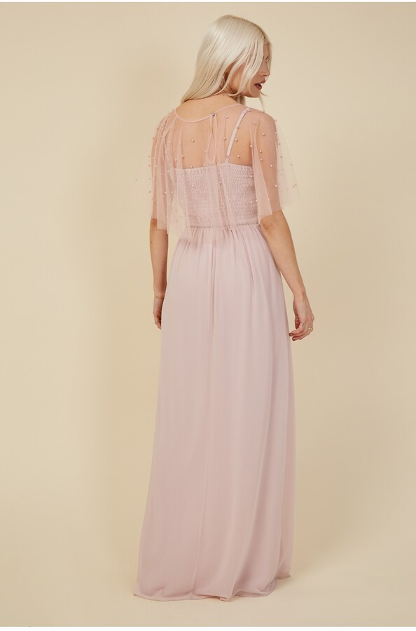 Thumbnail for your product : Little Mistress Bridesmaid Nela Blush Pearl Mesh Overlay Maxi Dress