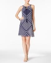 Jessica Howard Petite Printed Tassel Shift Dress