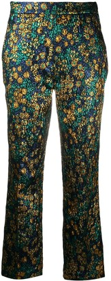 Odeeh Metallic Floral Embroidered Trousers