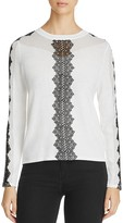 Elie Tahari Maxima Lace Detail Sweater