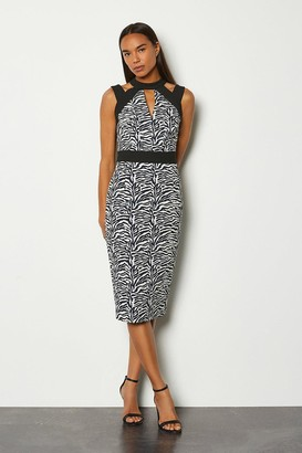 Karen Millen Zebra Jacquard Cut Out Pencil Dress