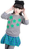 YJ.GWL Girls Long Sleeve Shirt and Plaid Irregular Skirt Sets 2pcs Clothing Sets(,120)