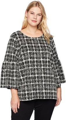 Calvin Klein Women's Plus Size Flare Sleeve Mix Jacquard Top