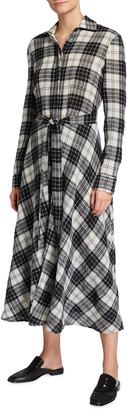 Rosetta Getty Plaid Wool Midi Shirtdress