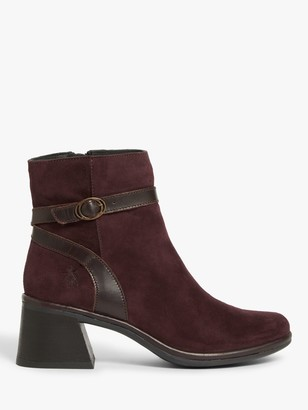 Fly London Lupi Suede Block Heel Ankle Boots, Purple
