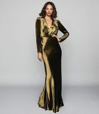 Reiss KLARA VELVET PLUNGE NECKLINE MAXI DRESS Khaki