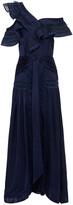 Thumbnail for your product : Self-Portrait Lace-trimmed One-shoulder Satin-jacquard Maxi Dress