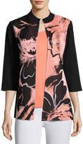 Misook 3/4-Sleeve Textured Abstract-Print Long Jacket