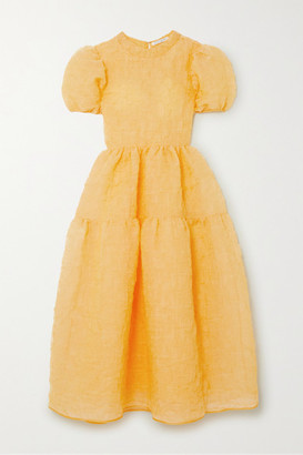 Cecilie Bahnsen Kelly Tiered Silk-blend Cloque Maxi Dress - Yellow