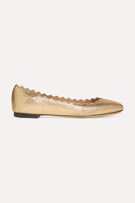 Chloé Lauren Scalloped Metallic Cracked-leather Ballet Flats - Gold