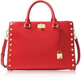 Michael Kors Sylvie Stud Large Bright Red Leather Satchel Bag