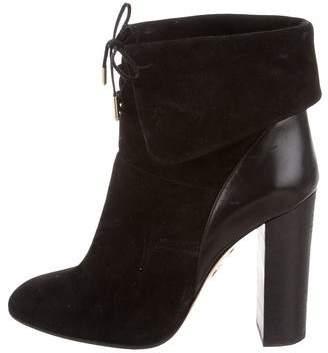Aquazzura Lace-Up Suede Ankle Boots