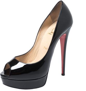 Christian Louboutin Black Patent Leather Lady Peep Pumps Size 39.5