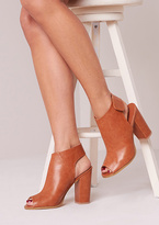 Missy Empire Cilla Tan Leather Open Toe Ankle Boots