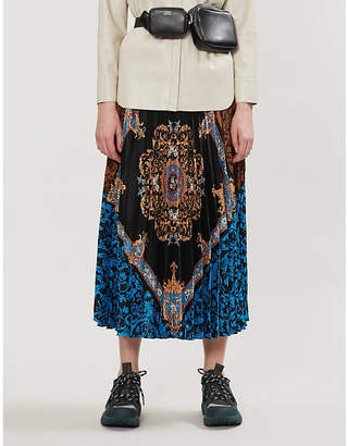 Sandro Ivona baroque-print pleated satin-crepe midi skirt
