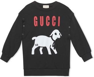 Gucci Kids cotton sweatshirt with Gucci lamb print