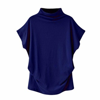 TWIFER Women Turtleneck Short Sleeve Cotton Solid Casual Blouse Top T Shirt Tunic T Shirt Pullover Plus Size(S-5XL)(Blue UK-16/CN-L)