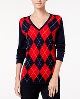 Tommy Hilfiger Ivy V-Neck Argyle Sweater, Only at Macy's