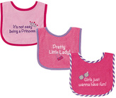 Luvable Friends Pink Princess Waterproof-Back Bib - Set of Three