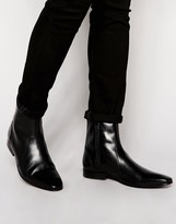 Base London Lapel Leather Zip Boots - Black