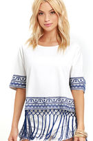 Ark & Co Weekend Escape Blue and Ivory Kaftan Top