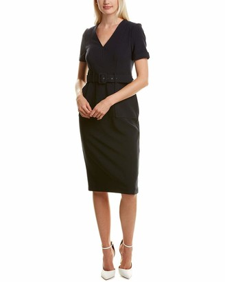Maggy London Women's Solid Crepe Short Sleeve Belted Sheath