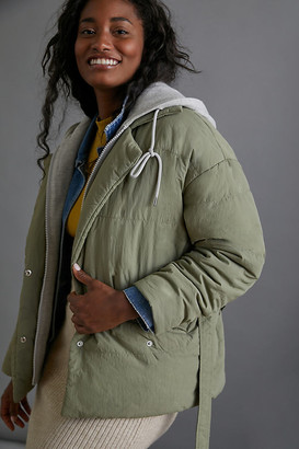Blank NYC Mel Quilted Puffer Jacket By in Green Size XS