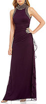 Betsy & Adam Embellished Mock Neck Side Ruffle Gown