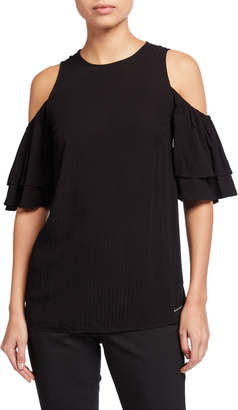 MICHAEL Michael Kors Double Flounce Sleeve Cold-Shoulder Top
