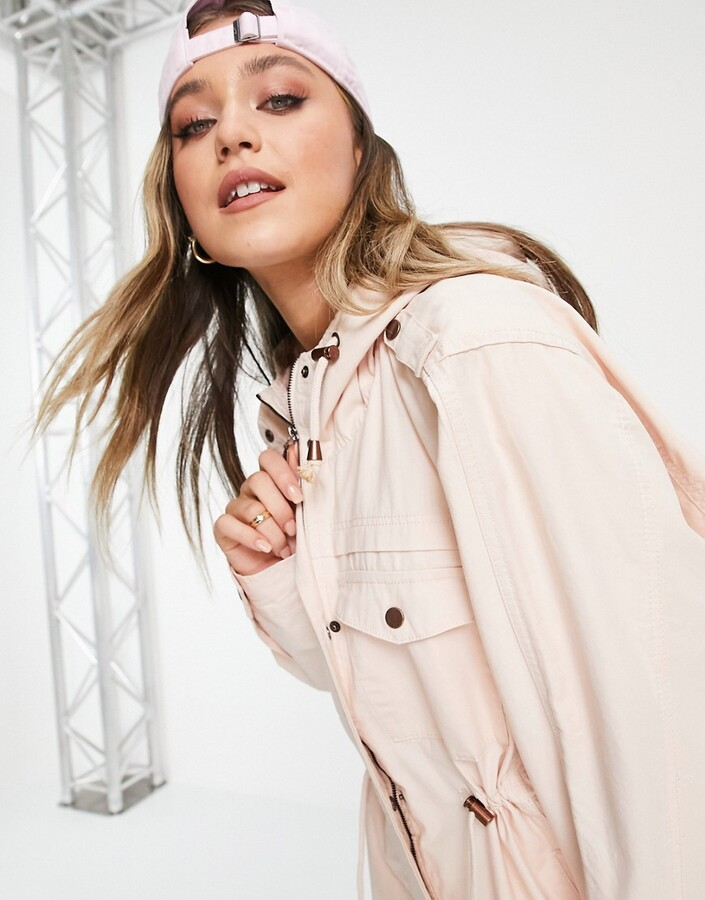 Thumbnail for your product : Brave Soul Lost twill lightweight hooded jacket in blush