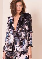 Missy Empire Brooke Black Floral Print Velvet Blazer