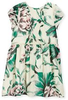 Burberry Teresa Pintucked Floral Silk Dress, Green, Size 4-14