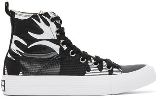 McQ Black and White Plimsoll High Top Sneakers