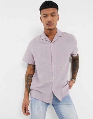 Asos DESIGN relaxed fit linen shirt with revere collar in lilac