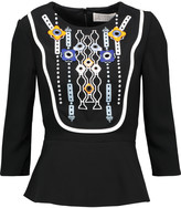 Peter Pilotto Atari embellished embroidered crepe peplum top