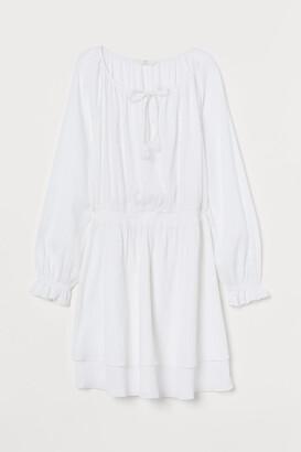 H&M Crinkled Cotton Dress - White