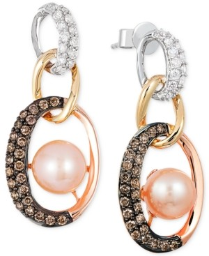 LeVian Le Vian Freshwater Pearl (7mm) and Diamond (3/4 ct. t.w.) Link Earrings in 14k White, Yellow and Rose Gold