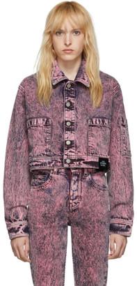 S.R. Studio. La. Ca. S.R. STUDIO. LA. CA. Pink SOTO Denim Mineral Wash Cropped Lab Jacket