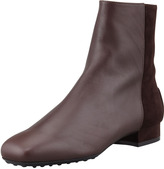 Tod's Suede & Soft Leather Ankle Boot, Dark Brown