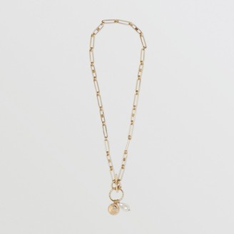 Burberry Resin Pearl Gold-plated Chain-link Necklace