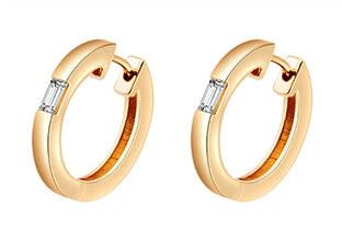 Camilla Yellow Gold Diamond Huggie Earrings