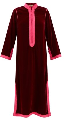 Muzungu Sisters - Alia Woven-trim Velvet Tunic Dress - Dark Red