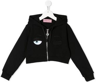 Chiara Ferragni Kids Flirting cropped zip-up hoodie